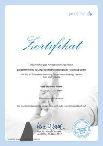 proDERM® Zertifikat für uvex phynomic Schutzhandschuh-Serie